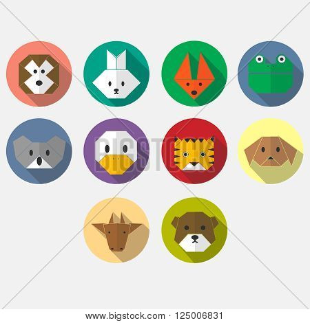 Cute animals flat long shadow icon set