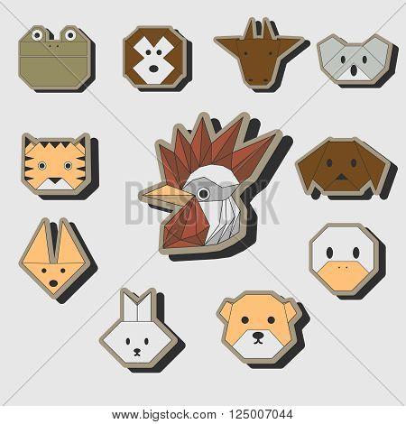 Cute origami animals stickers vector icon set