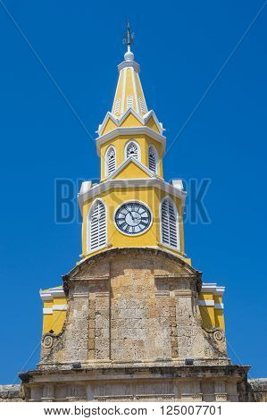CARTAGENA COLOMBIA - FEB 04 : The Clock tower in the entrance to the old town of Cartagena Colombia on Februery 04 2016. The historic port city Cartagena is UNESCO World Heritage Site since 1984.