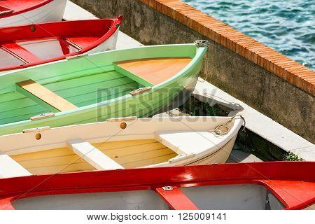 Rowboats in Tellaro, small village near Lerici, La Spezia, Liguria, Italy