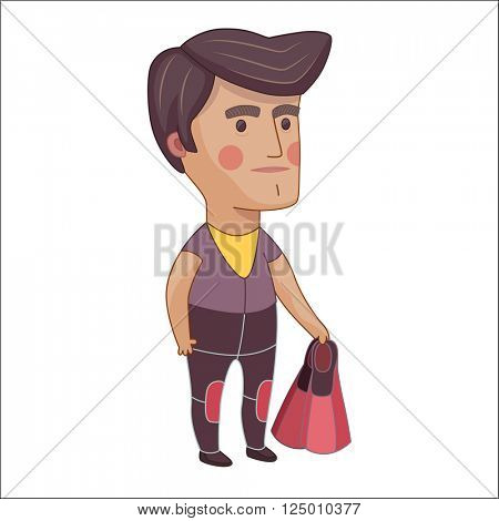 Scuba Diver, cartoon vector illustration, a young man wearing diving suit and holding flippers in his hand