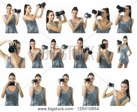 different expresions for a young beautiful woman photographer with a camera
