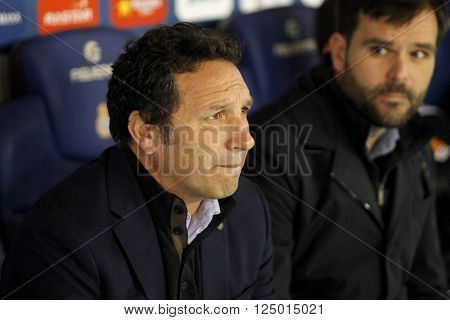 BARCELONA - FEB, 8: Eusebio Sacristan coach of Real Sociedad fighting during a Spanish League match against RCD Espanyol at the Power8 stadium on February 8, 2016 in Barcelona, Spain