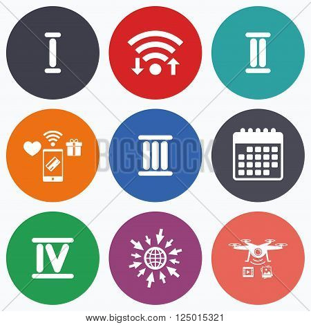 Wifi, mobile payments and drones icons. Roman numeral icons. 1, 2, 3 and 4 digit characters. Ancient Rome numeric system. Calendar symbol.