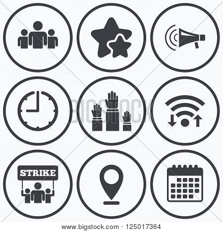 Clock, wifi and stars icons. Strike group of people icon. Megaphone loudspeaker sign. Election or voting symbol. Hands raised up. Calendar symbol.