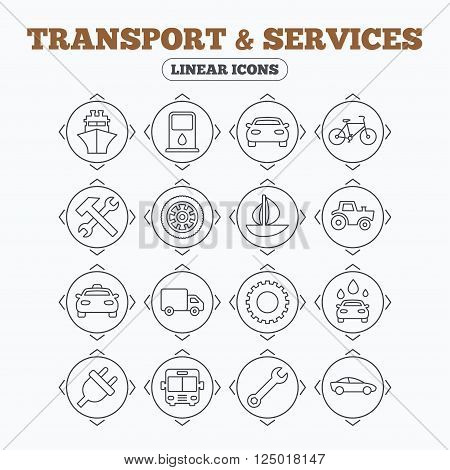 Linear icons with direction arrows. Transport and services icons. Ship, car and public bus, taxi. Repair hammer and wrench key, wheel and cogwheel. Sailboat and bicycle. Circle buttons.