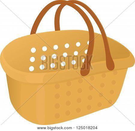 Shopping yelow plastik empty basket icon isolated on white