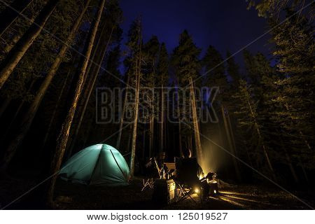 Camping in the forest with a campfire