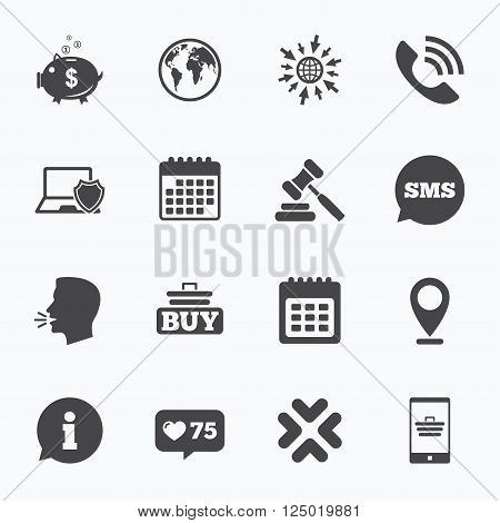 Calendar, go to web and like counter. Online shopping, e-commerce and business icons. Auction, phone call and information signs. Piggy bank, calendar and smartphone symbols. Sms speech bubble, talk symbols.