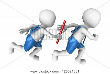 3d small people with baton. Relay. 3d illustration.