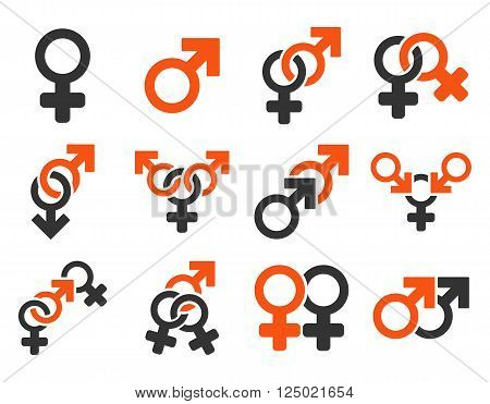 Sexual Relation Symbols vector icon set. Style is bicolor orange and gray flat symbols isolated on a white background.