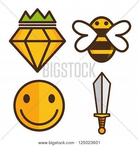 Bee cartoon character and diamond , smile moon and sward