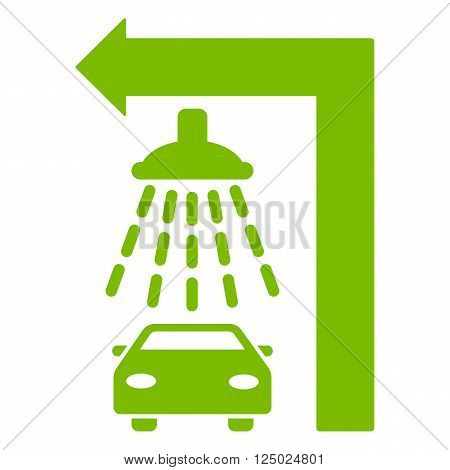 Carwash Turn Left vector illustration for street advertisement. Style is eco green flat symbols on a white background.
