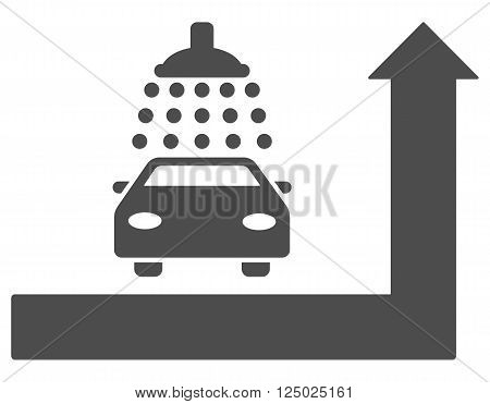 Carwash Turn Ahead vector illustration for street advertisement. Style is gray flat symbols on a white background.