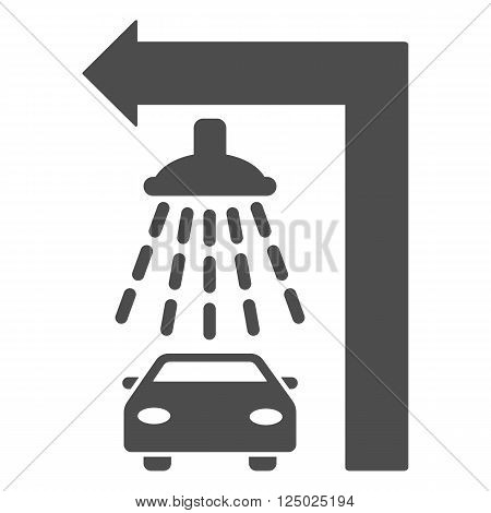 Carwash Turn Left vector illustration for street advertisement. Style is gray flat symbols on a white background.