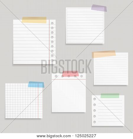 Paper and tape, blank white paper notes with colored tape, vector eps10 illustration