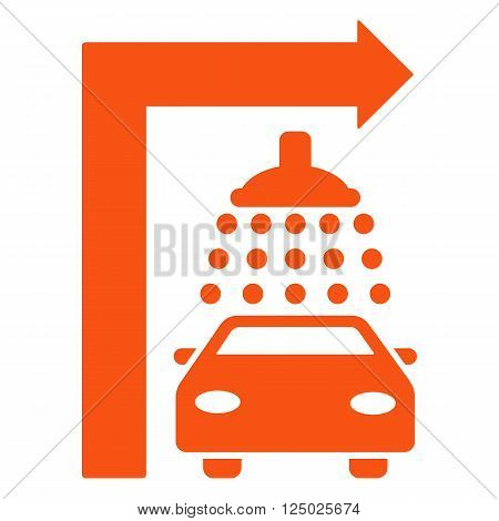 Carwash Turn Right vector illustration for street advertisement. Style is orange flat symbols on a white background.