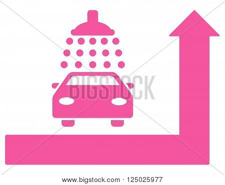 Carwash Turn Ahead vector illustration for street advertisement. Style is pink flat symbols on a white background.