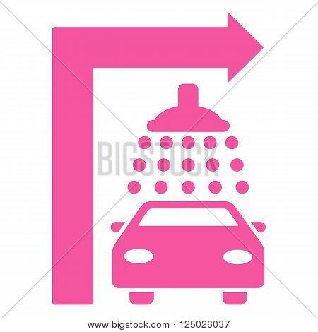 Carwash Turn Right vector illustration for street advertisement. Style is pink flat symbols on a white background.
