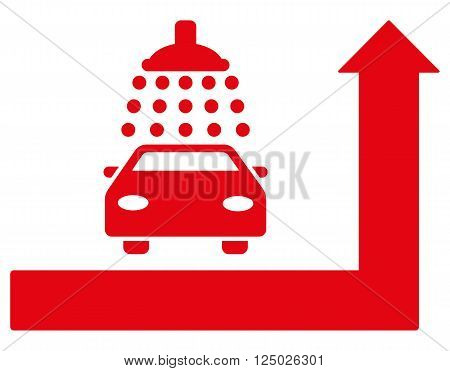 Carwash Turn Ahead vector illustration for street advertisement. Style is red flat symbols on a white background.