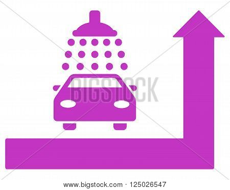 Carwash Turn Ahead vector illustration for street advertisement. Style is violet flat symbols on a white background.