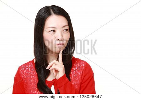 portrait of Japanese woman worries about something