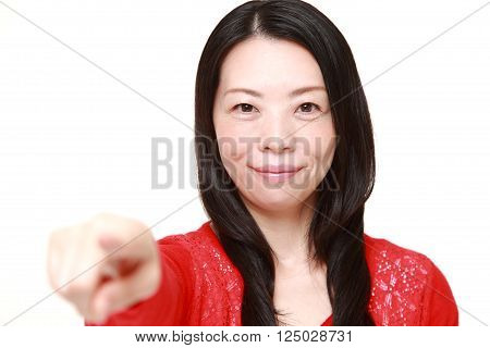 portrait of Japanese businesswoman decided on white background poster