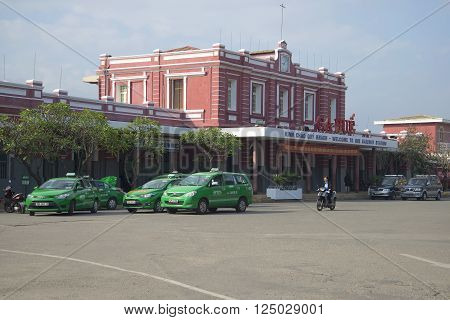 HUE, VIETNAM - JANUARY 08, 2016: The building of the railway station in Hue. The landmark of Hue, Vietnam