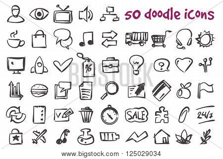 Vector doodle icons set. Stock illustration for design