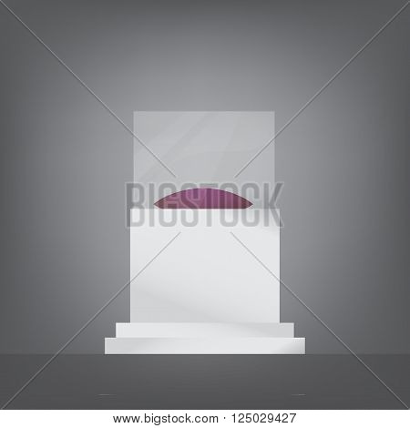 Vector isolated pedestal with glass and cushion. Stock illustration for design