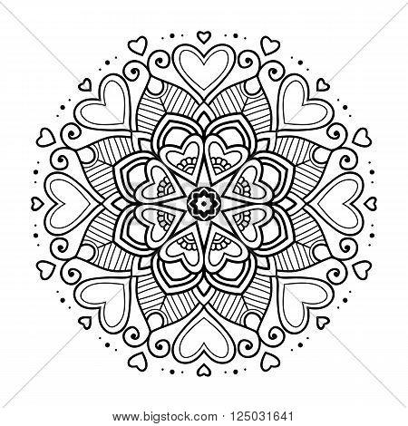 Black simple floral mandala on white background, vector illustration