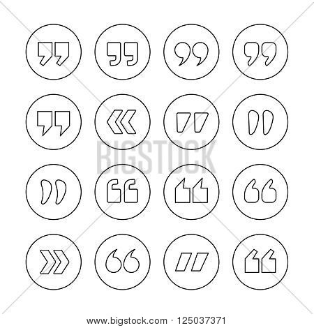 Quote marks outline circle vector icons set isolated on whie background. Double commas for quotation. Thin line style quotation icons collection