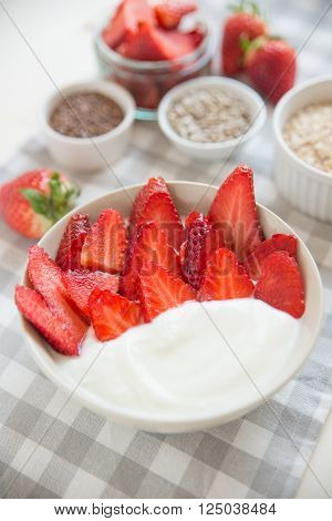 Healthy yogurt with fresh berries for breakfast