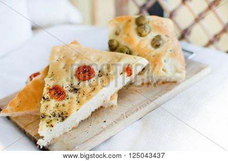 flatbread italy focaccia tomatoes olives flat oven baked Italian bread genovese ligure poster