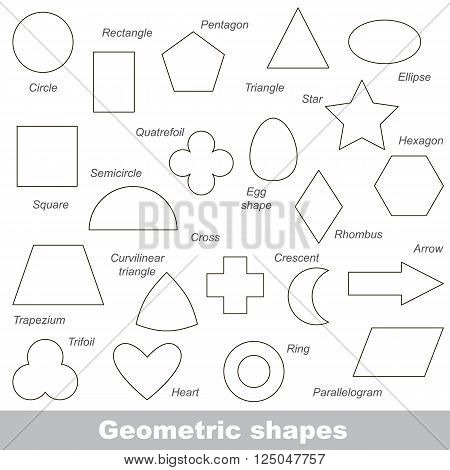 Complete set of simple geometric shapes in vector, the colorless version. poster