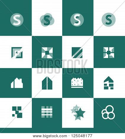 Vector company logo icon element template flat green alphabet letter s square real estate star abstract circle