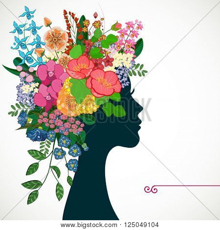 Beautiful profile young woman with tropicl flowers in heir hair. Illustration greeting card beauty and fashion.