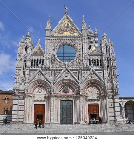 SIENA, ITALY - MARCH 12, 2016: Siena Cathedral is a splendid example of medieval architecture