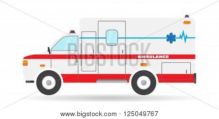 Vector flat ambulance vehicle illustration car emergency auto icon