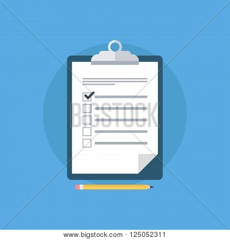 Survey vector icon. Survey clipboard. Checklist and pencil. Survey form. Survey results. Report board. Clipboard. Vector illustration.