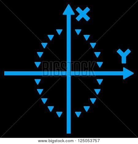Dotted Ellipse Plot vector icon. Dotted Ellipse Plot icon symbol. Dotted Ellipse Plot icon image. Dotted Ellipse Plot icon picture. Dotted Ellipse Plot pictogram. Flat blue dotted ellipse plot icon.