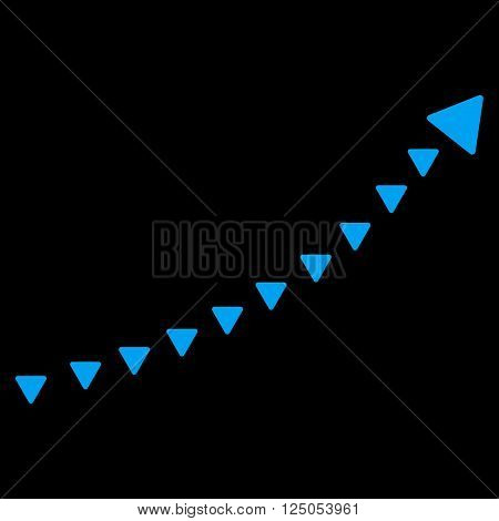Dotted Growth Trend vector icon. Dotted Growth Trend icon symbol. Dotted Growth Trend icon image. Dotted Growth Trend icon picture. Dotted Growth Trend pictogram. Flat blue dotted growth trend icon.