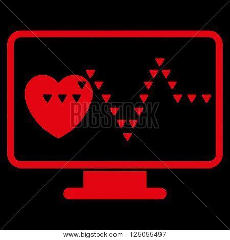 Cardio Monitoring vector icon. Cardio Monitoring icon symbol.  Flat red cardio monitoring icon.