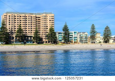 Adelaide Australia - August 28 2013: Glenelg beach with people during a day. View from Glenelg Jetty.