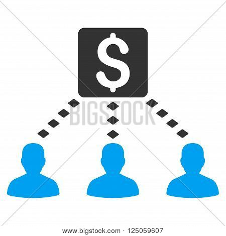Money Recipients vector toolbar icon. Style is flat icon symbol, color, white background, rhombus dots.
