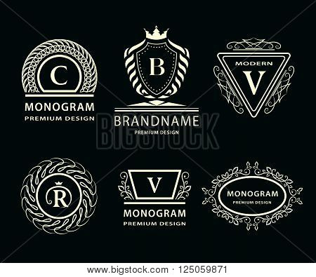Vector illustration of Monogram design elements graceful template. Calligraphic elegant line art logo design. Letter emblem C B V R for Royalty business card Boutique Hotel Heraldic Jewelry