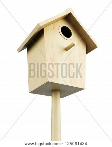 Wooden bird house isolated on a white background. 3d render image.
