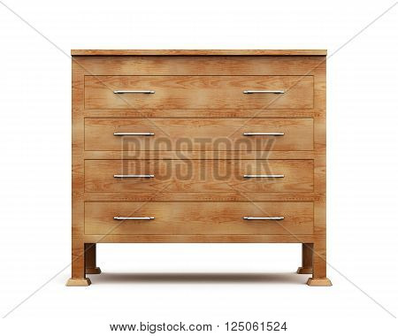 Simple wooden chest of drawers isolated on white background. 3d rendering.