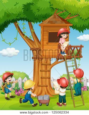 Children building treehouse in the park illustration