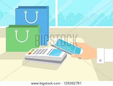 Flat illustration of mobile payment via smartphone. Human hand holds a smartphone and doing payment by credit card wireless connecting to the payment terminal in the shop